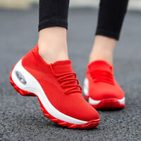 Womens Sneakers Knitted Air Cushion Mesh Breathable Casual Walking Slip On Shoes