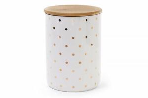 White Tall Porcelain Storage Jar w/Wooden Lid, Gold Polka Dot, 1.3 qt, Canister