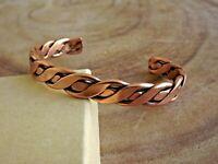 Pure Copper Arthritis Bracelet Solid Copper Adjustable Cuff Bracelet Flat Twist