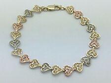 """NEW Solid 14K Tri Color Gold 7.25"""" Filigree Heart Bracelet 7.5 mm 6.4 grams"""
