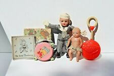 Four Vintage Celluloid Baby Toys, Rattle, Doll, Sailor and Tambourine