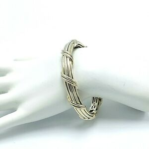 Peter Thomas Roth Sterling Ribbon & Reed Hinged Cuff Bracelet