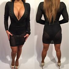 Connie's Black Mini Dress Sheer Deep V Plunge Neckline w/ built in Bodysuit L