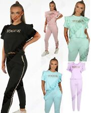 Women Frilled Sleeve Vogue Co-Ord Jumper Tracksuit Top Lounge Wear Suit 2Pcs Set