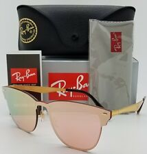 4f5036980b9 NEW Rayban Blaze Clubmaster Sunglasses RB3576N 043 E4 Gold Pink Mirror club  3576