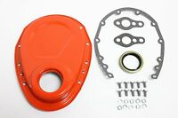 Orange SB Chevy Timing Chain Cover Kit 327 350 383 400 SBC Gasket Seal Bolts Set