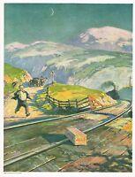 1920s BIG Vintage Jello Box Train Railroad Track Angus Macdonall Art Print Ad
