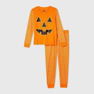 Kids' Halloween Pumpkin Matching Family Pajama Set - Orange Size 10