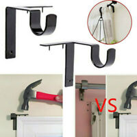 2/3pcs Hang Curtain Rod Holders Tap Right Into Window Frame Curtain Rod New qwe
