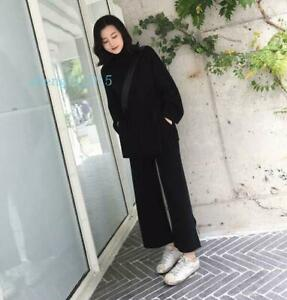 Lady Elegant Wool Knitted Sweater Cardigan+Wide Leg Pants Sets 2 Pic Suits New