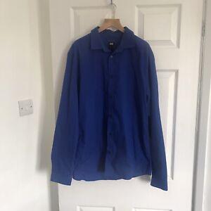 H&M Blue Long Sleeve Shirt Mens Size Large Zara Reiss Cos Hilfiger Polo Next