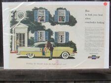 VINTAGE 1955 CHEVROLET BEL AIR 2 DOOR HARDTOP ELEGANCE AUTOMOBILE AD PRINT Z135