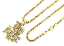 """24"""" 4mm Rope Chain Hip Hop Necklace Kc7513 14K Gold 2Pac Only God Can Judge Me w"""