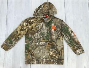 Carhartt Big Boys Camouflage Pull Over Hoodie Sweatshirt Size S 8-10 Green Brown