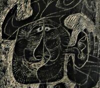 W. Ternitz- o.ä. signiert, abstrakt-Linolschnitt 1961: MANN MIT GROßEM OHR