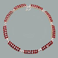 Bohemian Rose Cut Garnet Sterling Silver Bracelet # SA-041 w/Jewelry Certificate
