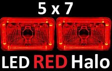 1pr 5x7 6x8 142x200mm Semi Sealed H4 Lights Headlights LED Halo Angel Eye RED