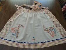 "New listing Half Apron made w/Vtg Irish Linen Tablecloth HandEmb.""Lady & Flower Cart"" Preown"