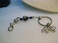"Vintage Cowboy Charms Key Chain, Cobalt Blue Glass Heart, 7"", 1980's,"
