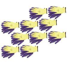 "8"" Builders Protective Gardening DIY Latex Rubber Coated Work Gloves Purple x 1"