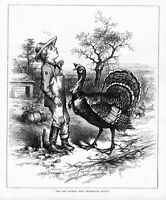 TURKEY THANKSGIVING DINNER, PROCLAMATION BY THOMAS NAST ANTIQUE ENGRAVING TURKEY