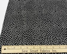 "Polyester Crepe: Lightweight, White Dots on Black, 45"" w, 3 yd. Piece"