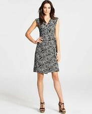 ANN TAYLOR Paisley Print Miracle Wrap Dress sz XS 0/2 Black/White Belted