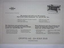 5/1976 PUB CRYPTO AG HAGELIN CRYPTOLOGY MCC-314 CRYPTOPLEX FRENCH AD