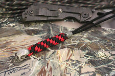 Paracord knife lanyard with pewter skull beads red & black m&p xm-18 busse,sng