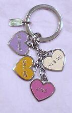 COACH 92064 HEARTS POPPY CONVERSATION KEYFOB CHARM~ENAMAL~SHOW YOUR LOVE~HEARTS