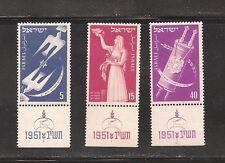 Israel 1951 New Year MNH Tab Set Scott 52-54  Bale 56-58