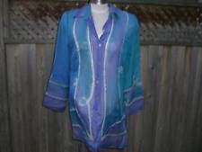 Gottex Aquarius 100% Silk Blouse in Turquoise- Medium