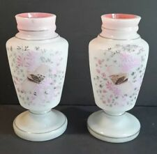 Antique Pair of White & Pink Opaline Glass Vases Hand Painted Flowers and Birds