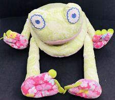 "Pottery Barn Kids Plush Pillow Green & Pink Tapestry 17"" Island Safari Frog"