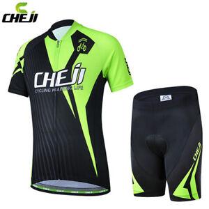 CHEJI Cycling Jersey Children Bike Shorts Kids' Cycling Clothing Set Black-Green