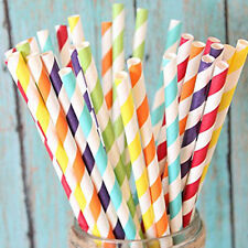 100pcs Biodegradable Paper Drinking Straws Striped Birthday Party Colorful 2018