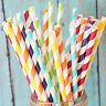 25/50/100pcs Biodegradable Paper Drinking Straws Striped Birthday Party Colorful
