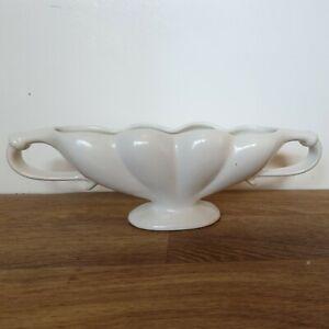 Vintage Shorter & Son Ltd. Satin White Footed & Handled Mantlepiece Vase 30cm