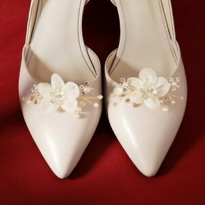 Pair fabric flower shoe clips wedding party shoes charm decoration BNIP