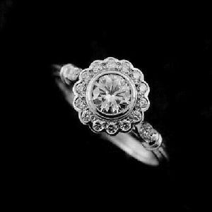 Art Deco 1.90 Ct Round Diamond Flower Halo Engagement Ring 14K White Gold Over