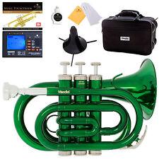 Mendini Green Lacquer Mini / Pocket Trumpet +Tuner+Stand+Case