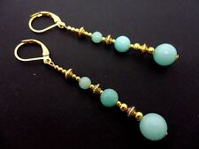 A PAIR BLUE JADE BEAD GOLD TONE EXTRA LONG DANGLY LEVERBACK EARRINGS. NEW.
