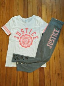 NWT Justice Girls Outfit Logo Football Top/Logo Cut Out Leggings Size 8 10