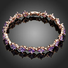 Famous Luxury Sparkly Shiny Purple Cubic Zircon Rose Gold Plated Tennis Bracelet