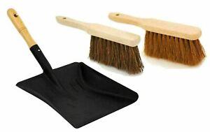 Heavy Duty Black Metal Dust Pan and Soft / Stiff Brush Dustpan Ash Pan Set