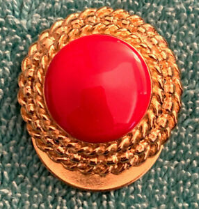 Scarf Ring Clip Fastener - Red and Gold