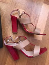 Hobbs Macy T Bar Sandal Red Ribbon/Fawn RRP GBP 149.00 Excellent Condition 40