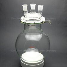 5000ml,Glass Reaction Flask,5L,24/29,Three Necks,Round Bottom Reactor,With Lid
