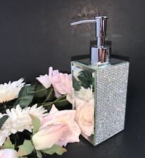 BELLA LUX Gorgeous FULL RHINESTONE MIRROR Luxury Bath Pump Soap Dispenser