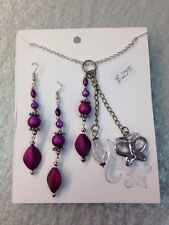 Vintage retro Tibet silver Rose Color Beads Crystal Butterfly & earrings